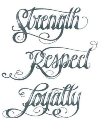 Tattooed Now! Strength Respect Loyalty Script