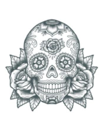 Tattooed Now! Temporary Tattoo Sugar Skull with Roses