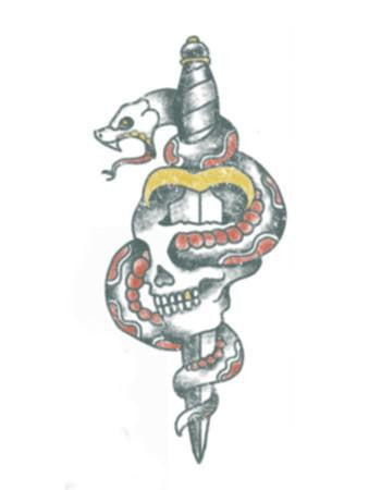 Tattooed Now! Temporary Tattoo Traditional Skull and Dagger with Snake