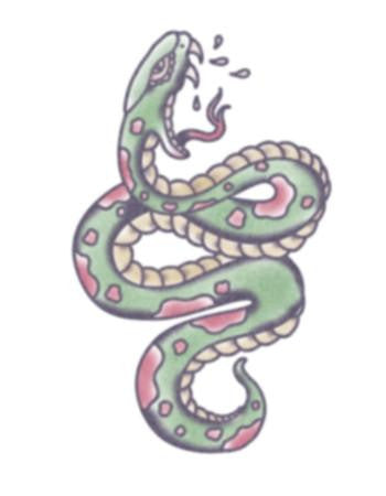 Tattooed Now! Traditional Green Snake