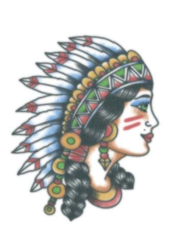 Tattooed Now! Temporary Tattoo Vintage Native Girl