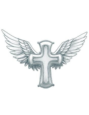 Tattooed Now! Temporary Tattoo Winged Cross (Large)