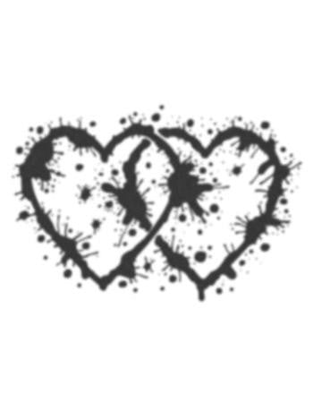 Tattooed Now! Ink Splatter Black Hearts