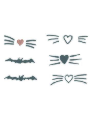 Tattooed Now! Love Whiskers and Bat Set