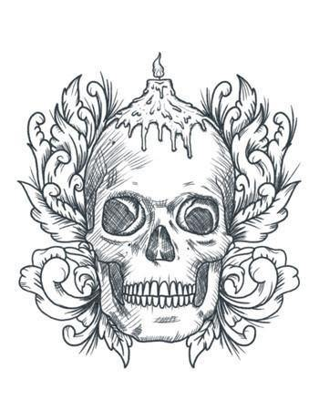 Temporary Tattoo Candle Skull Tattooed Now!