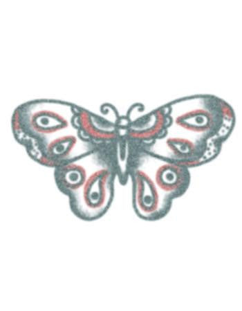 Tattooed Now! Temporary tattoo Vintage Black/Red Butterfly