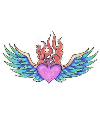Tattooed Now! Temporary Tattoo Winged Fiery Heart