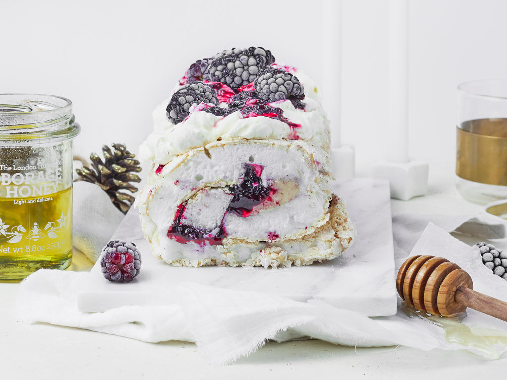 Honeyed Blackberry & White Chocolate Meringue Roulade