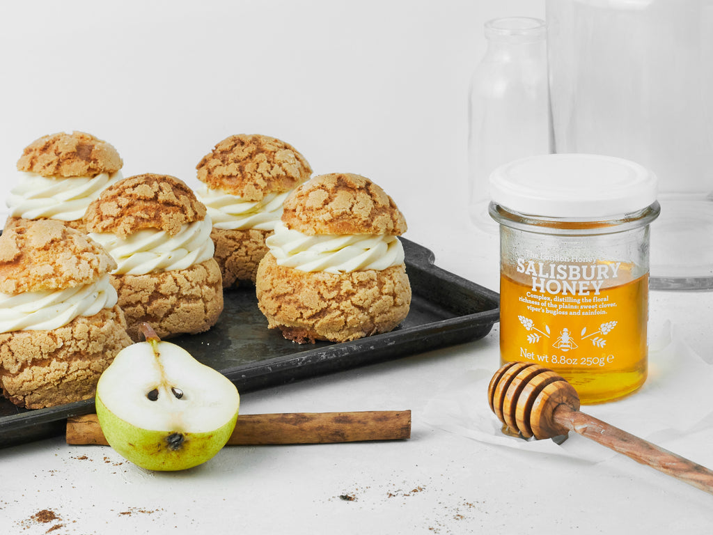 Spiced Honey & Pear Custard Choux Buns