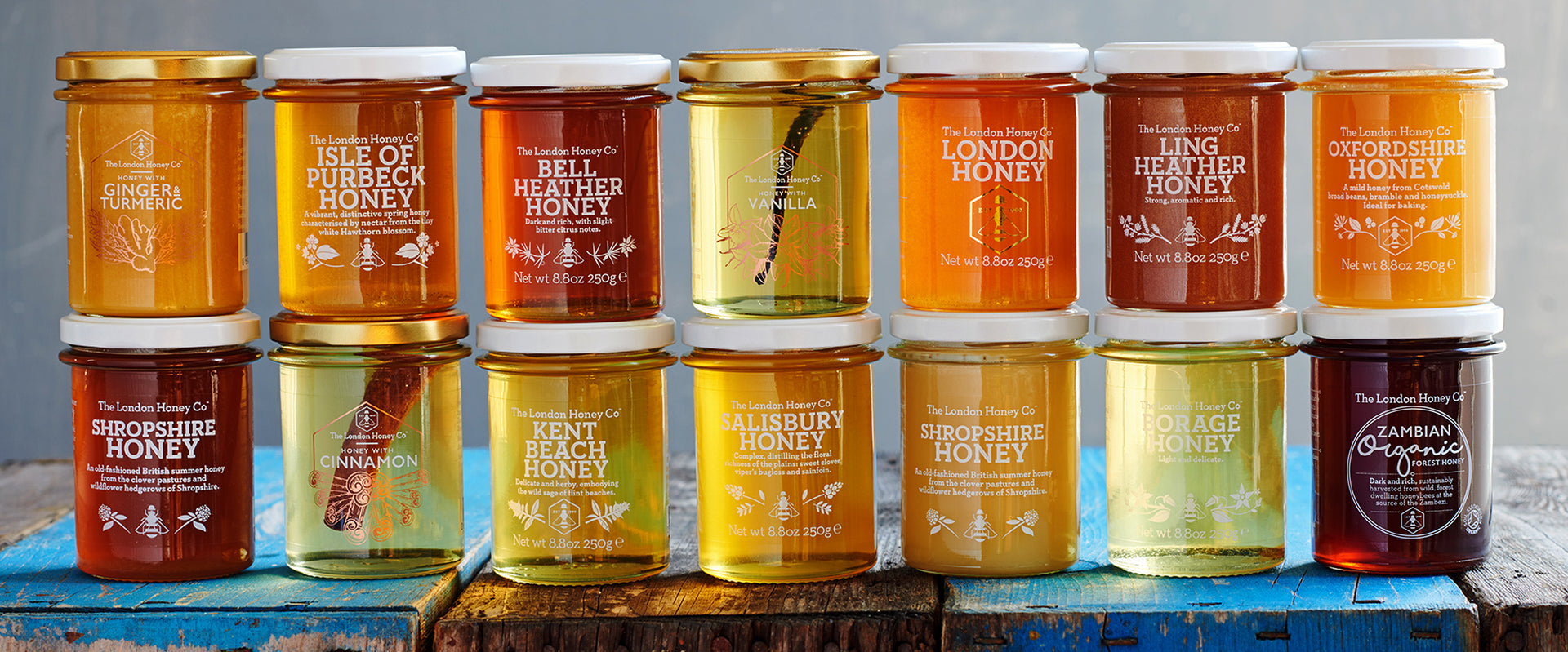 Ten jars of London Honey