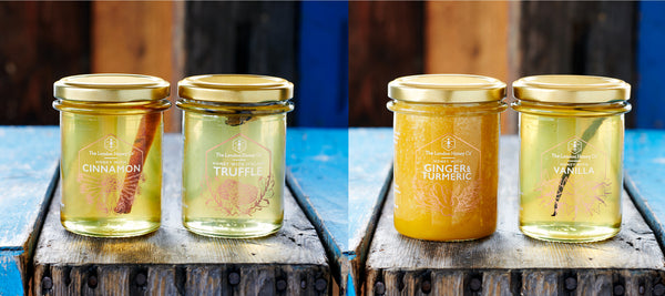 Raw honey jars British honey. Pure Infused ginger turmeric, cinnamon, vanilla infused honey