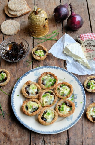 Le Rustique Brie Tartlets with Honey Onion Relish using London Honey Company honey