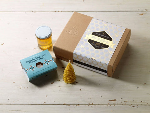 The London Honey Company Festive Gift Box with British Honeycomb, Borage Raw Honey and 100% Beeswax Candle