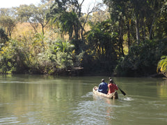 Travelling by canoe in North West Zambia