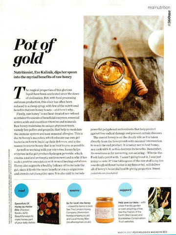 Honey for health: The London Honey Company raw honey featured in Psychologies Magazine