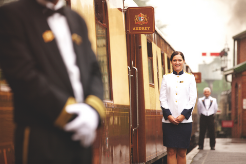 Staff waiting to help you aboard the luxury British Pullman