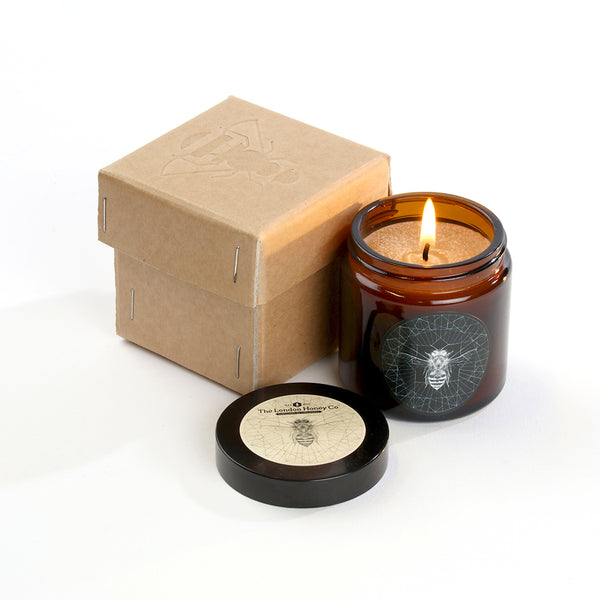 120ml Amber Pharmacy Glass, Pure Beeswax Candle.