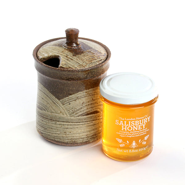British honey in a pottery honeypot. Hand made honeypot. Honey pot gift set