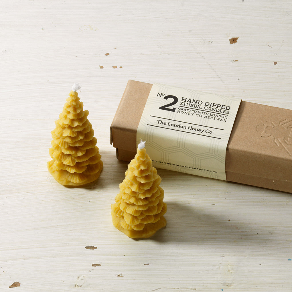 Beeswax Christmas tree candles and gift box