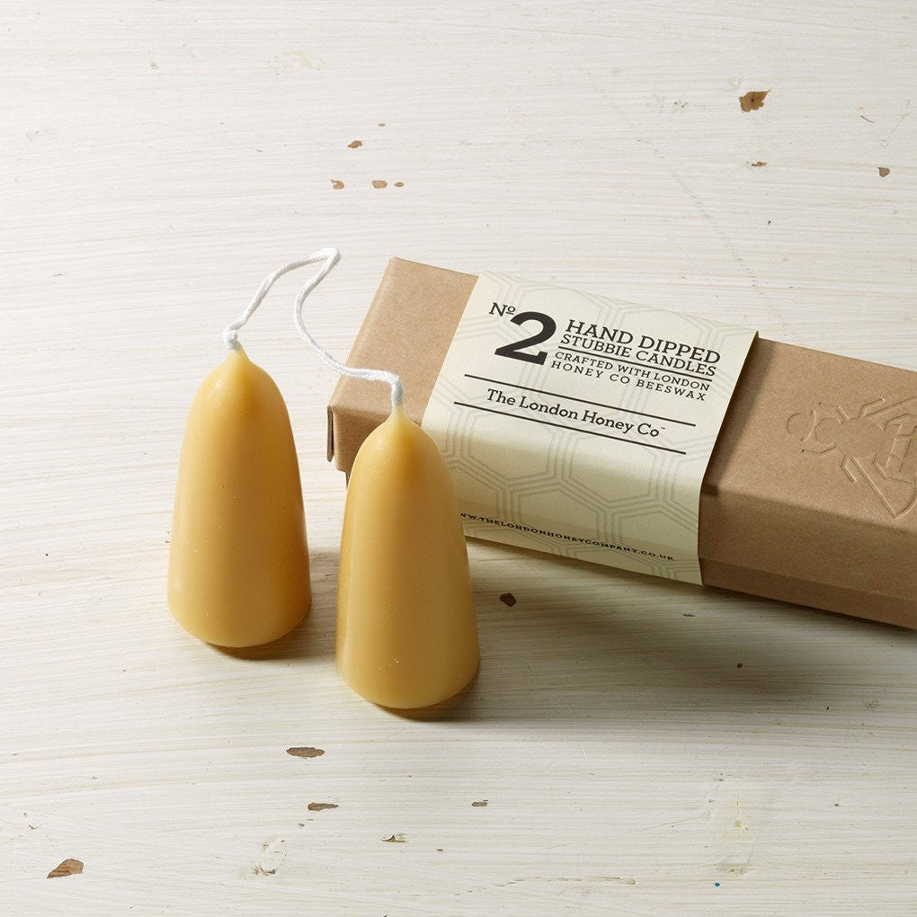No. 2 Gift box: Pair of Small Stumpy Beeswax Candles