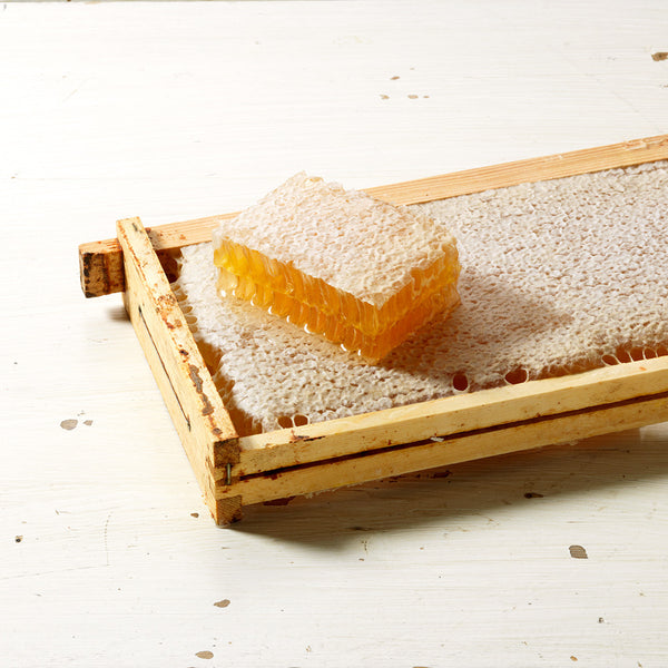 Whole honeycomb with a slice of honeycomb