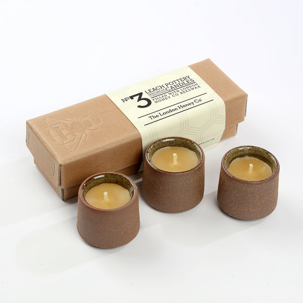 leach pottery candles, leach pottery egg cups, pure beeswax candles, leach pottery gift, candle gift, natural wax candles