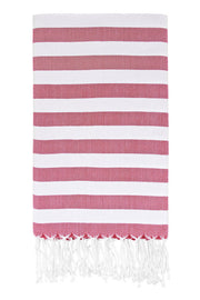 Awning Stripe Peshtemal in Red from Olive and Loom