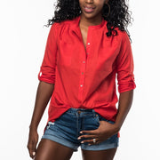 Band Collar Shirt in Red from Olive & Loom