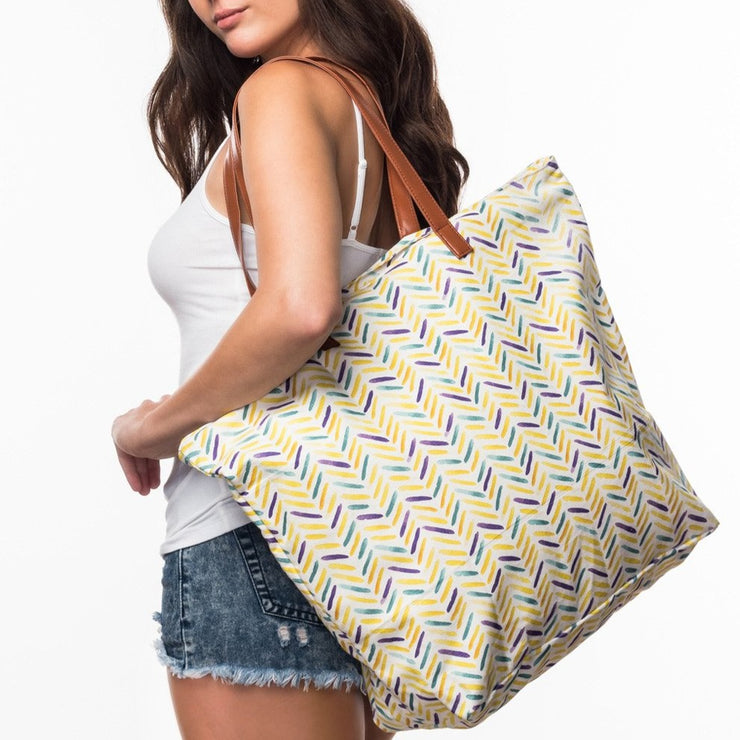 Beach Bag with Herringbone print from Olive & Loom