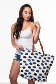Beach Bag with Indigo Spot print from Olive & Loom