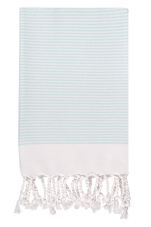 Mint Candy Striped Hand Peshtemal from Olive and Loom