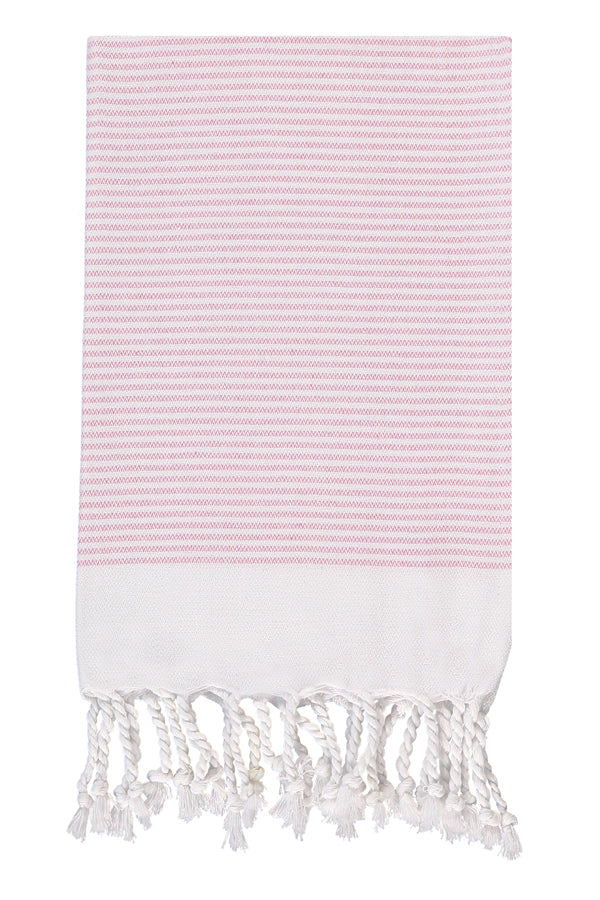 Pink Candy Striped Hand Peshtemal from Olive and Loom