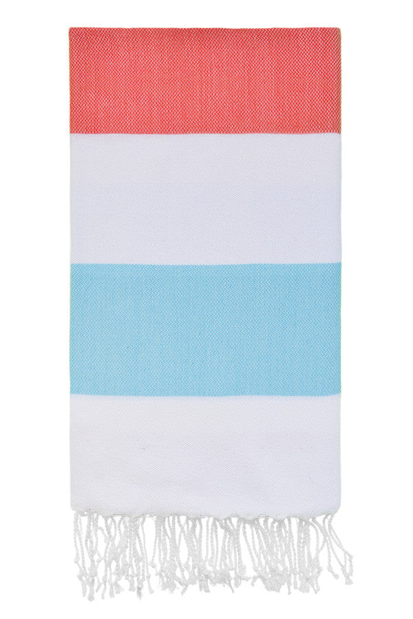 Doria Beach Peshtemal in Coral & Mint from Olive and Loom
