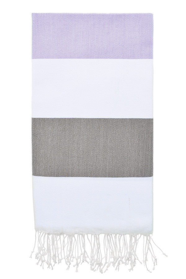 Doria Beach Peshtemal in Lavender & Olive from Olive and Loom