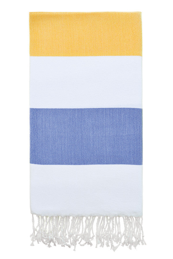 Doria Beach Peshtemal in Yellow & Navy from Olive and Loom