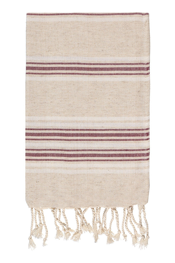 Luxe Linen Hand Peshtemal in Bordeaux from Olive and Loom