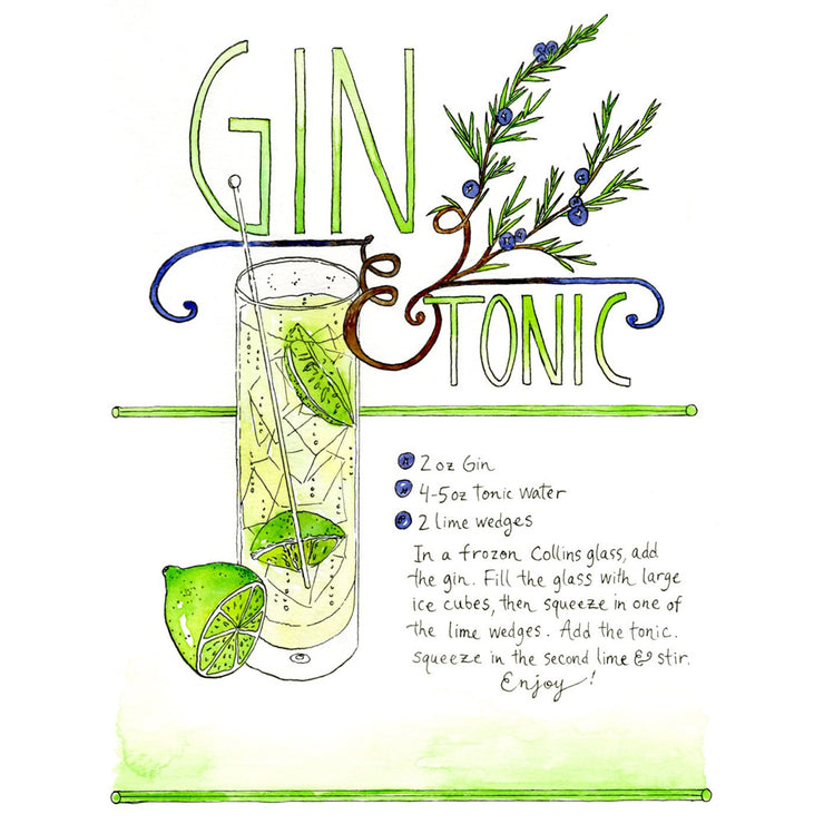 Gin & Tonic Art Print by Marcella Kriebel