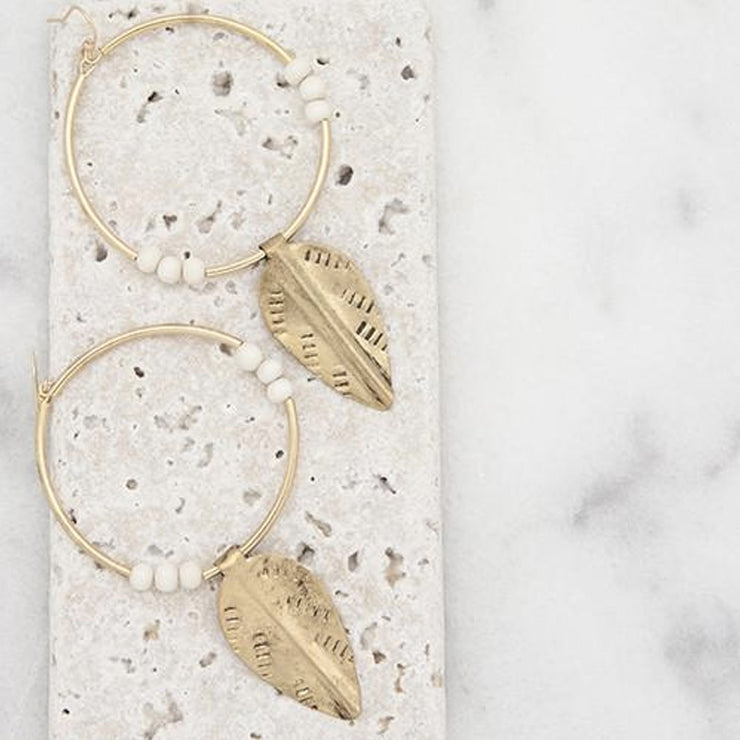 White New Leaf Earrings from Stick + Stone