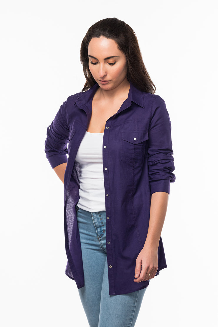 Straight Collar Shirt in Purple from Olive & Loom