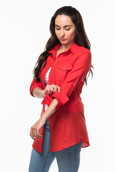 Straight Collar Shirt in Red from Olive & Loom