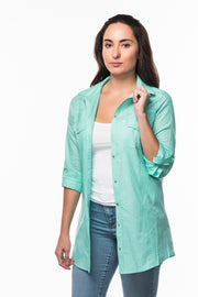 Straight Collar Shirt in Turquoise from Olive & Loom