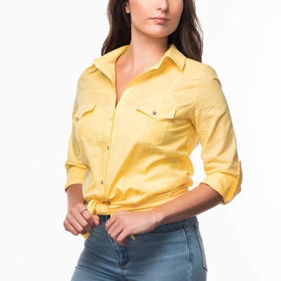 Straight Collar Shirt in Yellow from Olive & Loom