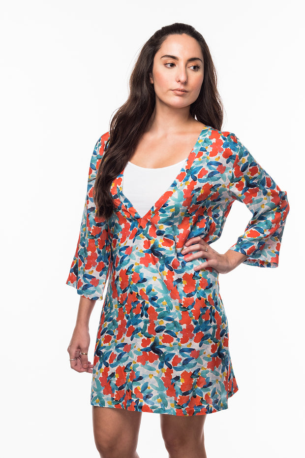 V-Neck Dress with Floral print from Olive & Loom
