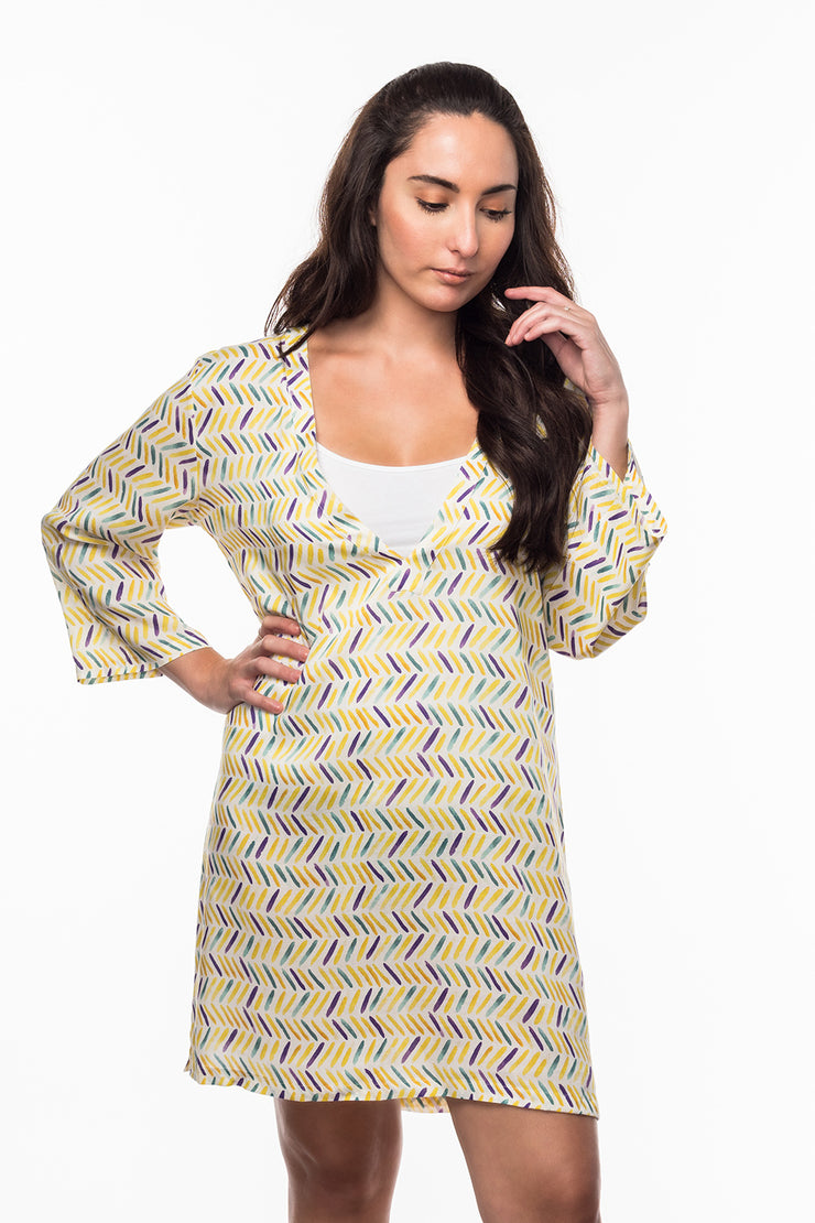 V-Neck Dress with Herringbone print from Olive & Loom