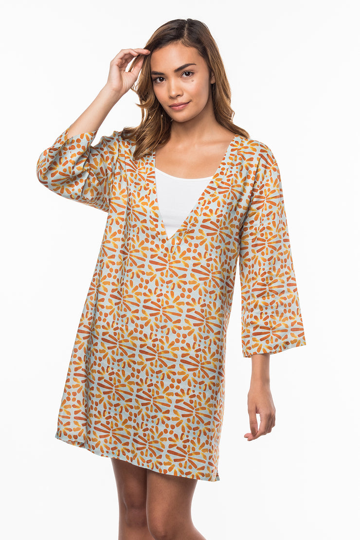 V-Neck Dress with Tile print from Olive & Loom