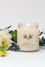 aloe green tea handmade habitat candle