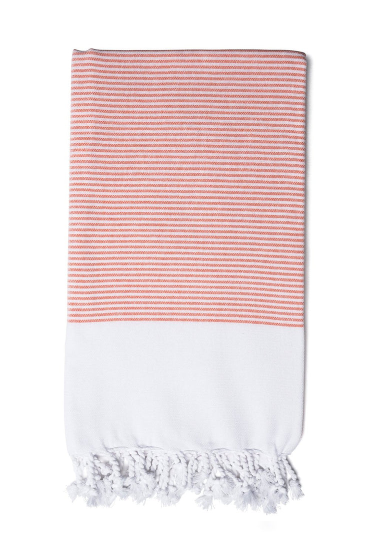 Coral Candy Striped Hand Towel from Olive & Loom