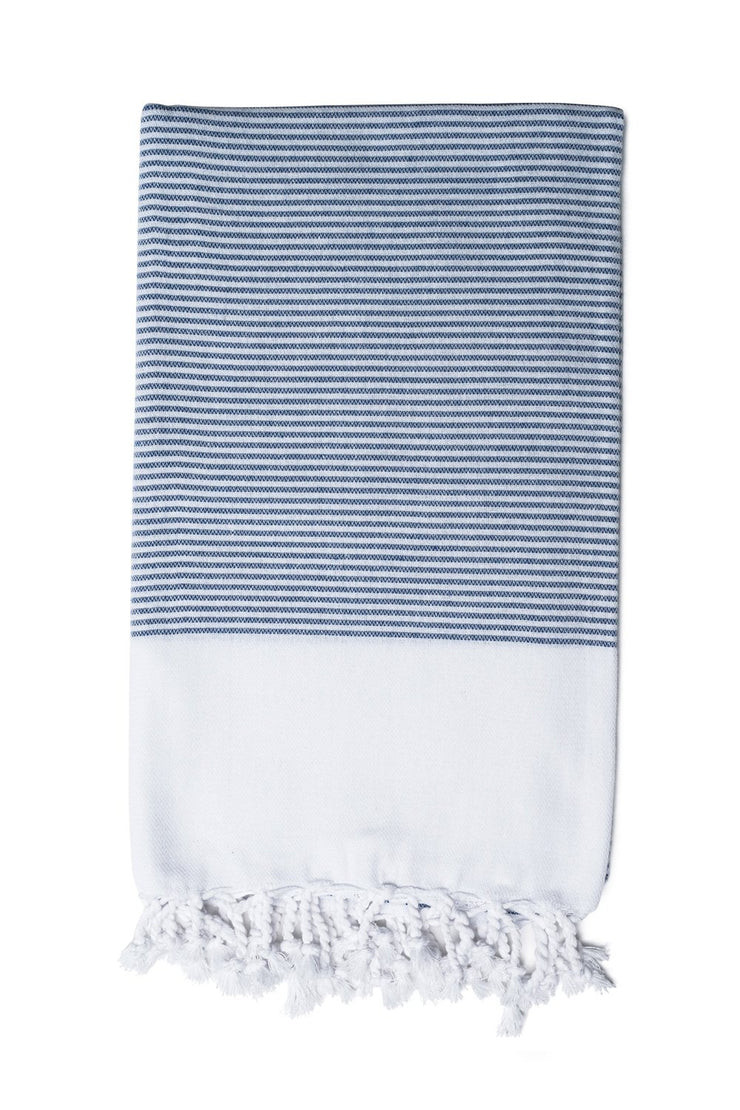 Navy Candy Striped Hand Towel from Olive & Loom