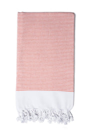 Coral Candy Stripe Hand Towel from Olive & Loom