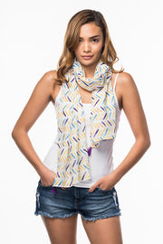Cotton Scarf with Herringbone print from Olive & Loom